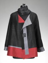 black and red jacket with scarf