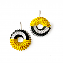 paper earrings in black, white, and golden yellow